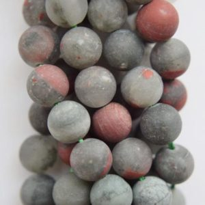 """Shop Bloodstone Beads! Natural Matte African Bloodstone Jasper Beads – Round 8 mm Gemstone Beads – Full Strand 15 1/2"""", 47 beads, A Quality 