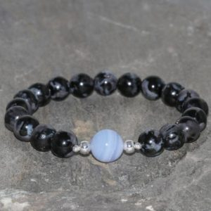 Shop Blue Chalcedony Bracelets! Gabbro and Blue Chalcedony Beaded Bracelet, 8mm Igneous Rock Gabbro, 10mm Blue Chalcedony, Natural Gemstone Bracelet, Black & Blue Bracelet | Natural genuine Blue Chalcedony bracelets. Buy crystal jewelry, handmade handcrafted artisan jewelry for women.  Unique handmade gift ideas. #jewelry #beadedbracelets #beadedjewelry #gift #shopping #handmadejewelry #fashion #style #product #bracelets #affiliate #ad