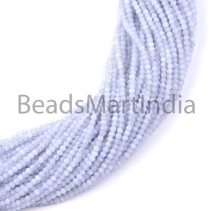 Shop Blue Chalcedony Beads! Blue Chalcedony Faceted Rondelle Natural Beads, Natural Chalcedony Beads, Chalcedony Faceted Beads, Blue Chalcedony Rondelle Beads | Natural genuine faceted Blue Chalcedony beads for beading and jewelry making.  #jewelry #beads #beadedjewelry #diyjewelry #jewelrymaking #beadstore #beading #affiliate #ad