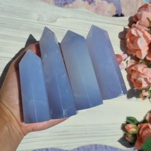 Large Blue Chalcedony Tower, Choose Your Crystal Point Wand Obelisk for Decor or Crystal Grids | Natural genuine stones & crystals in various shapes & sizes. Buy raw cut, tumbled, or polished gemstones for making jewelry or crystal healing energy vibration raising reiki stones. #crystals #gemstones #crystalhealing #crystalsandgemstones #energyhealing #affiliate #ad