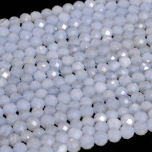 "Shop Blue Lace Agate Beads! 4MM Blue Lace Agate Beads Grade AA Genuine Natural Gemstone Full Strand Faceted Round Loose Beads 15.5"" Bulk Lot Options (107695-2508) 