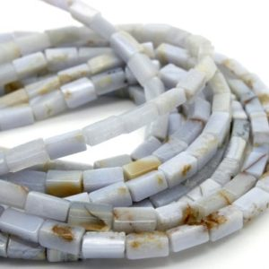 Shop Blue Lace Agate Beads! Blue Lace Agate, Natural Blue Lace Agate Stick Tooth Faceted Tube Cylinder Smooth Loose Gemstone Beads | Natural genuine faceted Blue Lace Agate beads for beading and jewelry making.  #jewelry #beads #beadedjewelry #diyjewelry #jewelrymaking #beadstore #beading #affiliate #ad