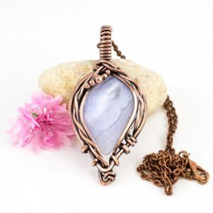 Shop Blue Lace Agate Pendants! Blue Lace Agate Copper Wire Wrapped Pendant – Romantic Jewelry – Gift For Her – White Stone Pendant | Natural genuine Blue Lace Agate pendants. Buy crystal jewelry, handmade handcrafted artisan jewelry for women.  Unique handmade gift ideas. #jewelry #beadedpendants #beadedjewelry #gift #shopping #handmadejewelry #fashion #style #product #pendants #affiliate #ad