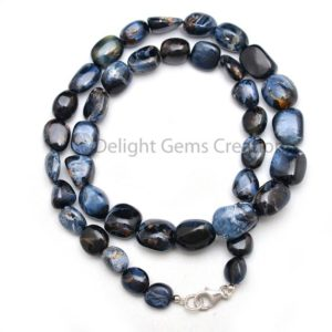 Shop Pietersite Necklaces! BLUE PIETERSITE Beaded Necklace, 8×9-10x14mm Pietersite Smooth Tumble Beads Necklace, Pietersite Jewelry, Rare Gemstone / 18 Inches Necklace | Natural genuine Pietersite necklaces. Buy crystal jewelry, handmade handcrafted artisan jewelry for women.  Unique handmade gift ideas. #jewelry #beadednecklaces #beadedjewelry #gift #shopping #handmadejewelry #fashion #style #product #necklaces #affiliate #ad