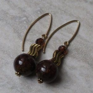 Shop Pietersite Earrings! Brown Earrings with V Ear Wire | Pietersite  Earrings | Brown Stone Earrings | Natural genuine Pietersite earrings. Buy crystal jewelry, handmade handcrafted artisan jewelry for women.  Unique handmade gift ideas. #jewelry #beadedearrings #beadedjewelry #gift #shopping #handmadejewelry #fashion #style #product #earrings #affiliate #ad