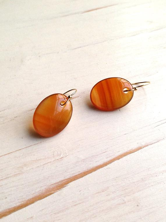 Carnelian Earrings Carnelian Slice Earrings Carnelian Jewelry
