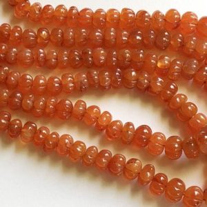 Shop Carnelian Necklaces! 9-11mm Carnelian Melon Beads, Natural Carnelian Hand Carved Melon Beads, Carnelian For Jewelry, Carnelian For Necklace (8IN To 16IN) – AAG2 | Natural genuine Carnelian necklaces. Buy crystal jewelry, handmade handcrafted artisan jewelry for women.  Unique handmade gift ideas. #jewelry #beadednecklaces #beadedjewelry #gift #shopping #handmadejewelry #fashion #style #product #necklaces #affiliate #ad
