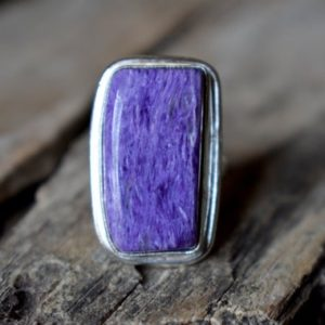 Shop Charoite Rings! Charoite gemstone ring, statement ring, 925 sterling silver , charoite ring , artisan silver ring , jewellery gift #SC1 | Natural genuine Charoite rings, simple unique handcrafted gemstone rings. #rings #jewelry #shopping #gift #handmade #fashion #style #affiliate #ad