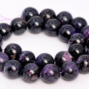 Shop Charoite Round Beads! 13 Pcs – 15MM Dark Color Charoite Beads Russia Grade A Genuine Natural Round Gemstone Loose Beads (108991) | Natural genuine round Charoite beads for beading and jewelry making.  #jewelry #beads #beadedjewelry #diyjewelry #jewelrymaking #beadstore #beading #affiliate #ad