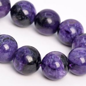 """Shop Charoite Round Beads! 16MM Deep Color Charoite Beads Russia Grade A+ Genuine Natural Gemstone Half Strand Round Loose Beads 7.5"""" Bulk Lot Options (108993h-2840) 