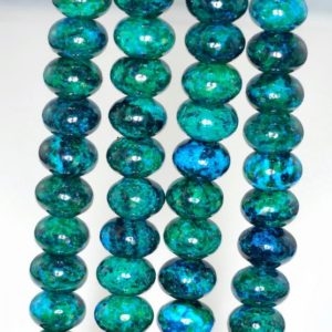 Shop Chrysocolla Beads! 12x8mm Turquoise Chrysocolla Quantum Quattro Gemstone Rondelle Loose Beads 15.5 inch Full Strand (90143265-B62) | Natural genuine beads Chrysocolla beads for beading and jewelry making.  #jewelry #beads #beadedjewelry #diyjewelry #jewelrymaking #beadstore #beading #affiliate #ad