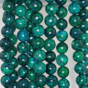 Shop Chrysocolla Round Beads! 10mm Chrysocolla Quantum Quattro Gemstone Round Loose Beads 7.5 inch Half Strand (90143190-B61) | Natural genuine round Chrysocolla beads for beading and jewelry making.  #jewelry #beads #beadedjewelry #diyjewelry #jewelrymaking #beadstore #beading #affiliate #ad