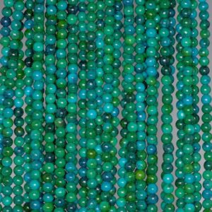 Shop Chrysocolla Round Beads! 3mm Chrysocolla Gemstone Green Blue Round 3mm Loose Beads 15.5 inch Full Strand (80000944-163) | Natural genuine round Chrysocolla beads for beading and jewelry making.  #jewelry #beads #beadedjewelry #diyjewelry #jewelrymaking #beadstore #beading #affiliate #ad