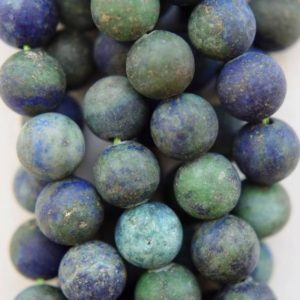 "Shop Chrysocolla Round Beads! Natural Matte Chrysocolla Beads – Round 8 mm Gemstone Beads – Full Strand 15 1/2"", 45 beads, A Quality 