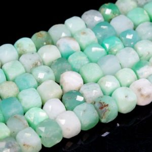 Shop Chrysoprase Faceted Beads! Genuine Natural Chrysoprase / Australian Jade Loose Beads Grade AA Faceted Cube Shape 6mm | Natural genuine faceted Chrysoprase beads for beading and jewelry making.  #jewelry #beads #beadedjewelry #diyjewelry #jewelrymaking #beadstore #beading #affiliate #ad