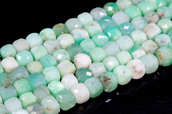 Genuine Natural Chrysoprase / Australian Jade Loose Beads Grade Aa Faceted Cube Shape 6mm
