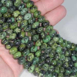 Shop Chrysoprase Rondelle Beads! 10X6MM Black Green Chrysoprase Gemstone Grade A Rondelle Loose Beads 16 inch Full Strand (80000542-A72) | Natural genuine rondelle Chrysoprase beads for beading and jewelry making.  #jewelry #beads #beadedjewelry #diyjewelry #jewelrymaking #beadstore #beading #affiliate #ad