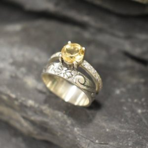 Shop Citrine Engagement Rings! Citrine Ring, Double Ring, Natural Citrine, November Birthstone, Double Band Ring, Vintage Ring, Yellow Diamond Ring, Wide Ring, Silver Ring | Natural genuine Citrine rings, simple unique handcrafted gemstone rings. #rings #jewelry #shopping #gift #handmade #fashion #style #affiliate #ad