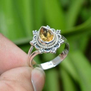 Shop Citrine Rings! Natural Citrine Ring, Oxidized Ring, 925 Sterling Silver Rings, Women Rings Jewelry, 6×9 mm Pear Citrine Ring, Yellow Citrine Gemstone Ring | Natural genuine Citrine rings, simple unique handcrafted gemstone rings. #rings #jewelry #shopping #gift #handmade #fashion #style #affiliate #ad