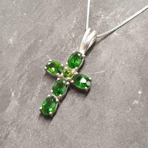 Shop Diopside Pendants! Cross Pendant, Chrome Diopside Pendant, Green Cross Pendant, Natural Chrome Diopside, Symbolic Pendant, Vintage Pendant, 925 Silver Pendant | Natural genuine Diopside pendants. Buy crystal jewelry, handmade handcrafted artisan jewelry for women.  Unique handmade gift ideas. #jewelry #beadedpendants #beadedjewelry #gift #shopping #handmadejewelry #fashion #style #product #pendants #affiliate #ad