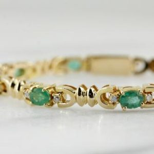 Shop Emerald Bracelets! Emerald Diamond Gold Tennis Bracelet, Vintage Emerald Link Bracelet, May Birthstone Bracelet, Anniversary Gift, 907861 | Natural genuine Emerald bracelets. Buy crystal jewelry, handmade handcrafted artisan jewelry for women.  Unique handmade gift ideas. #jewelry #beadedbracelets #beadedjewelry #gift #shopping #handmadejewelry #fashion #style #product #bracelets #affiliate #ad