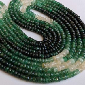 Shop Emerald Faceted Beads! 3.3-4.5mm Emerald Faceted Rondelle Beads, Natural Shaded Emerald Beads, Emerald For Jewelry, Emerald Beads (8IN To 16IN Options) – APH15 | Natural genuine faceted Emerald beads for beading and jewelry making.  #jewelry #beads #beadedjewelry #diyjewelry #jewelrymaking #beadstore #beading #affiliate #ad