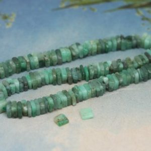 Emerald Natural Handmade Square Heishi Spacer Beads 4mm / Green Gemstone Beads / Emerald Gemstone Beads / May Birthstone / 8 Beads | Natural genuine other-shape Emerald beads for beading and jewelry making.  #jewelry #beads #beadedjewelry #diyjewelry #jewelrymaking #beadstore #beading #affiliate #ad