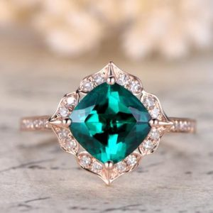 Emerald Engagement Ring 7mm Cushion Cut Emerald Wedding Ring May Birthstone Ring Pave Diamond Wedding Band 14K Rose Gold | Natural genuine Array rings, simple unique alternative gemstone engagement rings. #rings #jewelry #bridal #wedding #jewelryaccessories #engagementrings #weddingideas #affiliate #ad