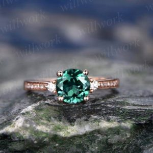 Three  stone emerald engagement ring solid 14k rose gold ring real diamond ring emerald ring vintage may birthstone wedding promise ring | Natural genuine Gemstone rings, simple unique alternative gemstone engagement rings. #rings #jewelry #bridal #wedding #jewelryaccessories #engagementrings #weddingideas #affiliate #ad