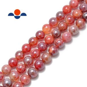 """Coated Fire Agate Smooth Round Beads 6mm 8mm 10mm 15.5"""" per Strand 