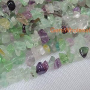 "Shop Fluorite Chip & Nugget Beads! 34"" Rainbow Fluorite 5x10mm Chips , Small Chips Gemstone, Semi-precious Stone, Rainbow Color Small Diy Jewelry Beads, Gemstone Wholesaler 