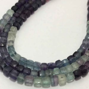 Shop Fluorite Faceted Beads! 4.5 – 5 mm Multi Fluorite Faceted Box Gemstone Beads Strand Sale / Multi Fluorite Cubes Wholesale /Multi fluorite Jewellery / Flurite Cubes | Natural genuine faceted Fluorite beads for beading and jewelry making.  #jewelry #beads #beadedjewelry #diyjewelry #jewelrymaking #beadstore #beading #affiliate #ad