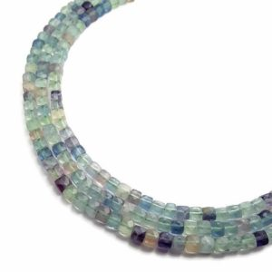 "Shop Fluorite Faceted Beads! Natural Fluorite Faceted Square Cube Dice Beads 4-5mm 15.5"" Strand 