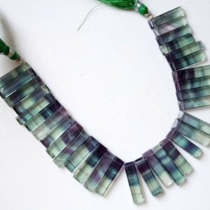 Shop Fluorite Bead Shapes! 24-27mm Fluorite Fancy Faceted Sticks, Natural Multi Fluorite Rectangle Beads, Green Fluorite Statement For Necklace, Layout Necklace – NT72 | Natural genuine other-shape Fluorite beads for beading and jewelry making.  #jewelry #beads #beadedjewelry #diyjewelry #jewelrymaking #beadstore #beading #affiliate #ad