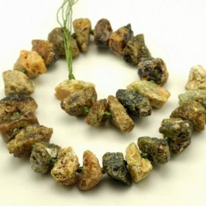 """Shop Garnet Chip & Nugget Beads! Rough Green Garnet Nugget Gemstone Green 30×20-25x20mm Loose Beads 15.5"""" inch Full Strand (90189190-B44) 