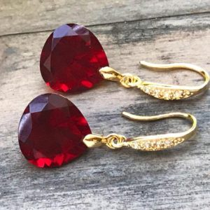 Shop Garnet Earrings! Burgundy Garnet gold pave earrings. Heart cut garnets. Red stone jewelry. Red garnet dangles. Dark red garnet drops. Junuary birthstone. | Natural genuine Garnet earrings. Buy crystal jewelry, handmade handcrafted artisan jewelry for women.  Unique handmade gift ideas. #jewelry #beadedearrings #beadedjewelry #gift #shopping #handmadejewelry #fashion #style #product #earrings #affiliate #ad