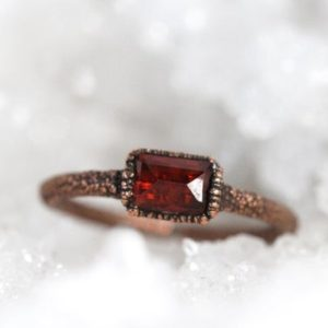 Shop Garnet Rings! Garnet Ring – January Birthstone – Faceted Stone Ring – Small Stone Stacking Ring | Natural genuine Garnet rings, simple unique handcrafted gemstone rings. #rings #jewelry #shopping #gift #handmade #fashion #style #affiliate #ad