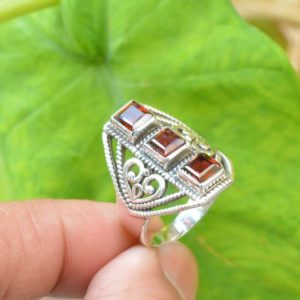 Shop Garnet Engagement Rings! Natural Garnet Ring, Sterling Silver Ring, Women Jewelry, 5mm Square Garnet Ring, Boho Ring, Garnet Ring, Statement Rings, Red Garnet Ring | Natural genuine Garnet rings, simple unique handcrafted gemstone rings. #rings #jewelry #shopping #gift #handmade #fashion #style #affiliate #ad