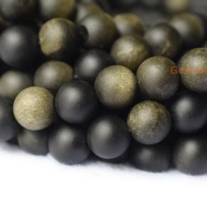 """Shop Golden Obsidian Beads! 15"""" 10mm Natural matte golden obsidian round beads, frosted black gold semi precious stone beads JGYO 