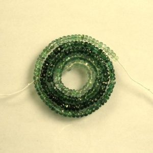 "Shop Green Tourmaline Beads! Shaded GREEN TOURMALINE faceted rondelle bead AA+ 3-3.5mm 16"" strand 