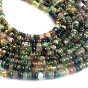 4mm Multi Tourmaline Plain Button Beads, Shaded Multi Tourmaline Plain Rondelles, 13 Inch Green Tourmaline For Jewelry, Beautiful Tourmaline | Natural genuine rondelle Green Tourmaline beads for beading and jewelry making.  #jewelry #beads #beadedjewelry #diyjewelry #jewelrymaking #beadstore #beading #affiliate #ad