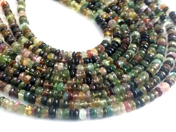 4mm Multi Tourmaline Plain Button Beads, Shaded Multi Tourmaline Plain Rondelles, 13 Inch Green Tourmaline For Jewelry, Beautiful Tourmaline