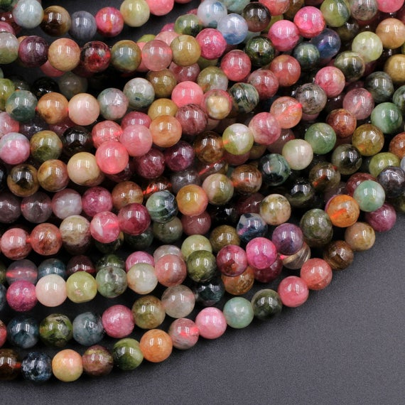 """Natural Multicolor Watermelon Pink Green Tourmaline Round Beads 4mm 5mm 6mm Colorful Real Genuine Tourmaline Gemstone 15.5"""" Strand"""