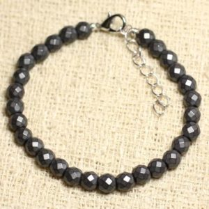 Bracelet 925 sterling silver and stone – Hematite balls faceted matte 6mm | Natural genuine Array bracelets. Buy crystal jewelry, handmade handcrafted artisan jewelry for women.  Unique handmade gift ideas. #jewelry #beadedbracelets #beadedjewelry #gift #shopping #handmadejewelry #fashion #style #product #bracelets #affiliate #ad