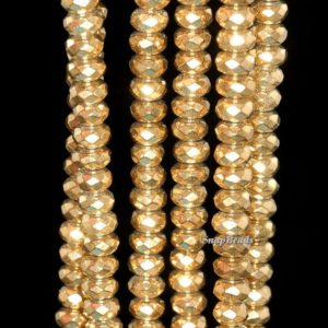 Shop Hematite Faceted Beads! 6x3mm Gold Hematite Gemstone Gold Faceted Rondelle Loose Beads 16 inch Full Strand (90146806-148) | Natural genuine faceted Hematite beads for beading and jewelry making.  #jewelry #beads #beadedjewelry #diyjewelry #jewelrymaking #beadstore #beading #affiliate #ad