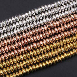 """Shop Hematite Beads! Titanium Hematite Thin Faceted Rondelle Beads Electroplated Bright Silver Rose Gold 4mm 6mm 8mm 15.5"""" Strand 