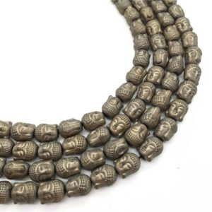 Shop Hematite Bead Shapes! 10mm Hematite Buddha Beads, Buddha Head Shaped Beads, Hematite Jewelry | Natural genuine other-shape Hematite beads for beading and jewelry making.  #jewelry #beads #beadedjewelry #diyjewelry #jewelrymaking #beadstore #beading #affiliate #ad