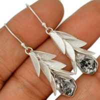 Sale, Very Beautiful Quartz Or Herkimer Diamond Earrings, 925 Silver | Natural genuine Gemstone jewelry. Buy crystal jewelry, handmade handcrafted artisan jewelry for women.  Unique handmade gift ideas. #jewelry #beadedjewelry #beadedjewelry #gift #shopping #handmadejewelry #fashion #style #product #jewelry #affiliate #ad