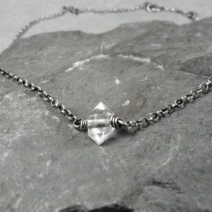 Shop Herkimer Diamond Necklaces! Herkimer Diamond Choker Necklace, Herkimer Diamond Jewelry, Layered Chain Necklace, April Birthstone, Yoga Gift, Sterling Silver Necklace | Natural genuine Herkimer Diamond necklaces. Buy crystal jewelry, handmade handcrafted artisan jewelry for women.  Unique handmade gift ideas. #jewelry #beadednecklaces #beadedjewelry #gift #shopping #handmadejewelry #fashion #style #product #necklaces #affiliate #ad