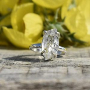 Shop Herkimer Diamond Rings! Herkimer Diamond Ring, Antique Shape, 925 Sterling Silver, White Color Stone, Prong Setting Ring, Raw Stone Ring, Made For Her, Sale, Gift | Natural genuine Herkimer Diamond rings, simple unique handcrafted gemstone rings. #rings #jewelry #shopping #gift #handmade #fashion #style #affiliate #ad